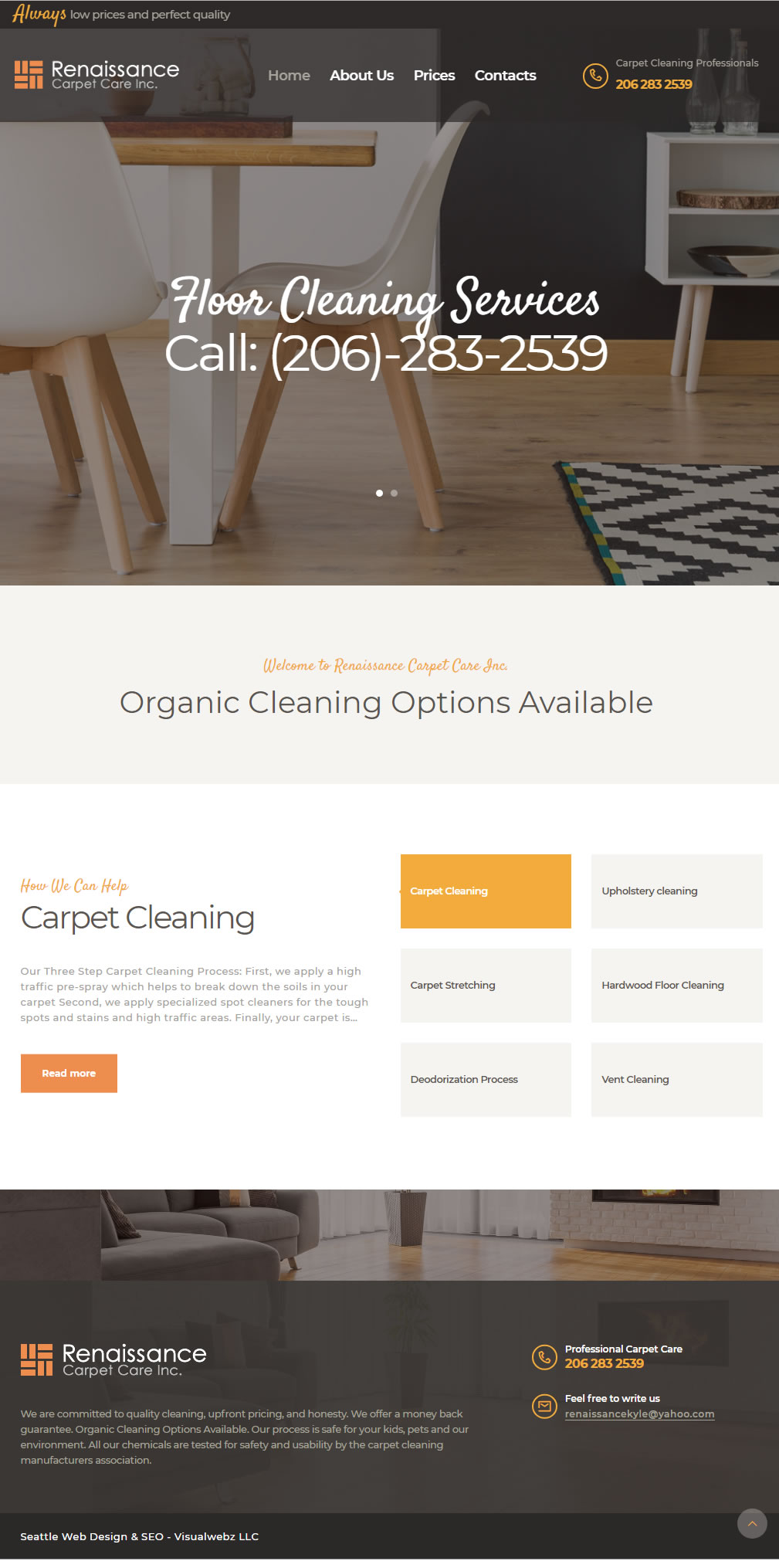 Seattle Carpet Cleaning Web Design -SEO - Local - Visualwebz com