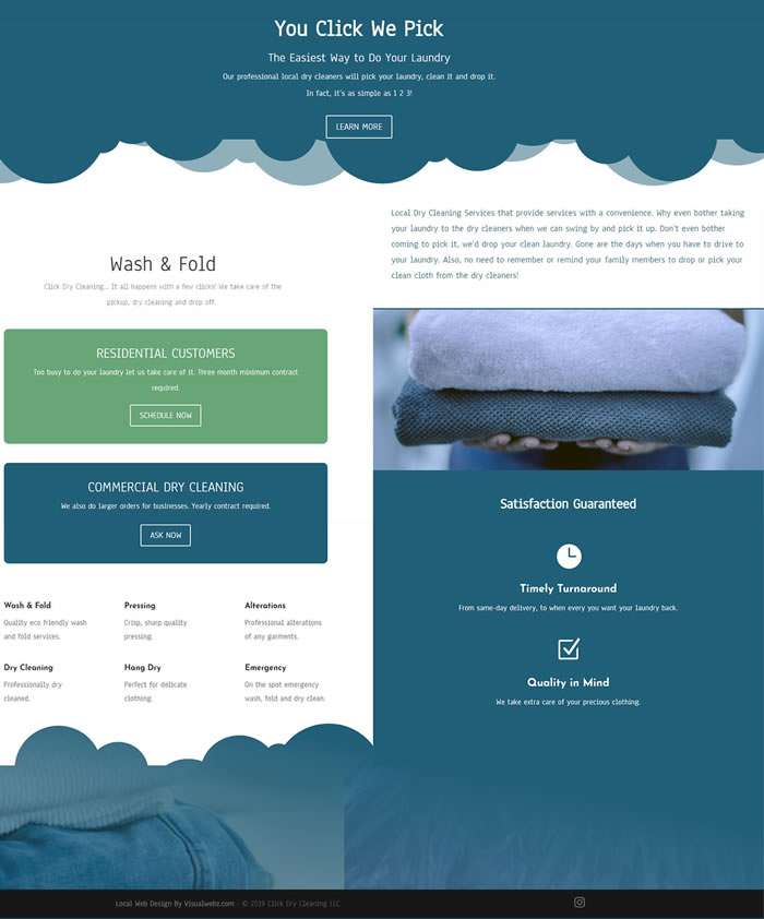 Click Dry Cleaning Web Design 2 - Dry Cleaning Web Design Project