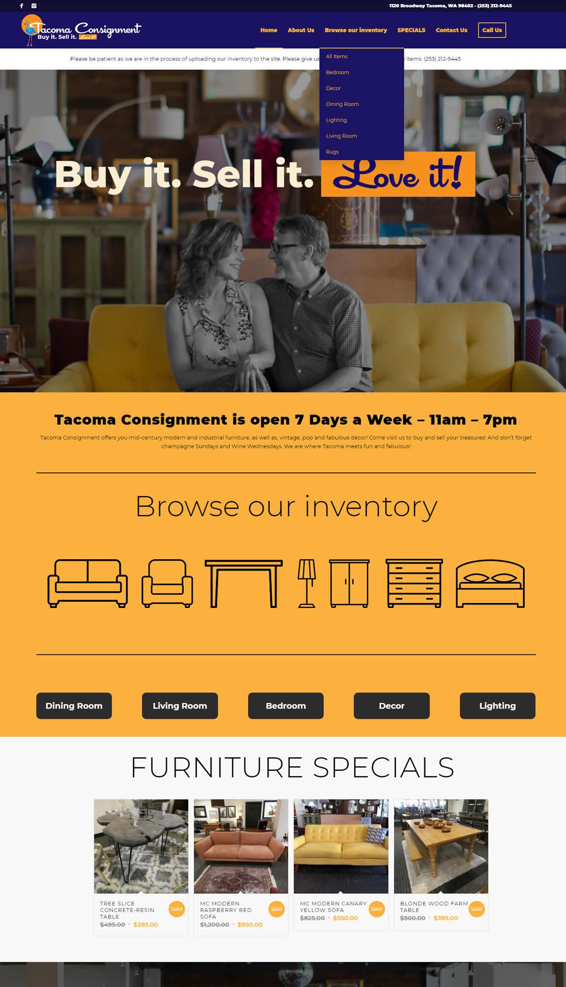 Tacoma Web Design Home Page for Tacoma Consignment - Tacoma Web Design Project