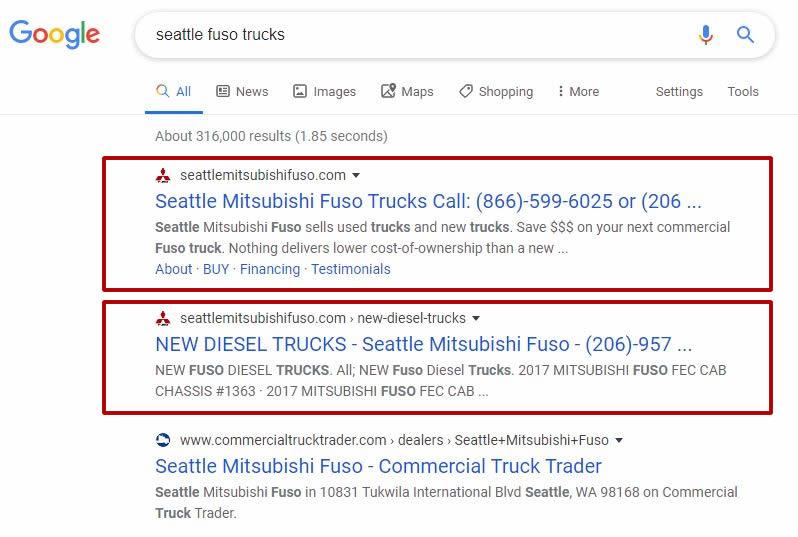 Seattle SEO Case Study - Seattle SEO Mitsubishi Fuso Case Study #2