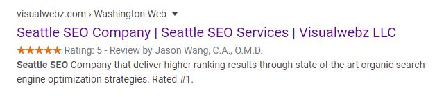 Seattle SEO Google Search Snippet